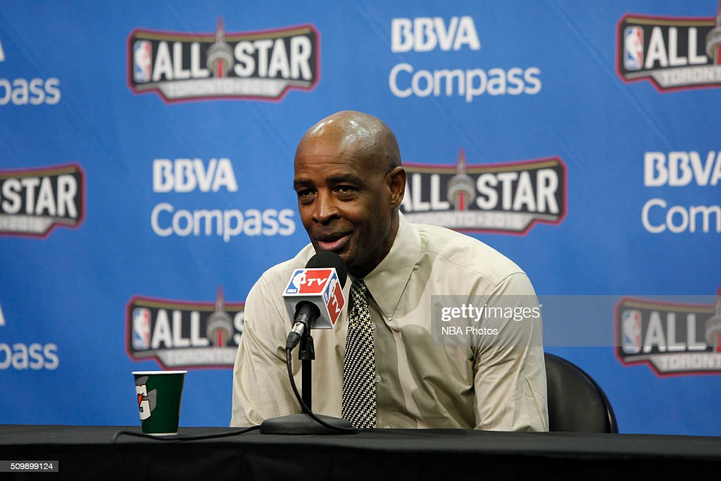 Head coach, <a gi-track='captionPersonalityLinkClicked' href=/galleries/search?phrase=Larry+Drew+-+Basketball+Coach&family=editorial&specificpeople=10043394 ng-click='$event.stopPropagation()'>Larry Drew</a> of the USA Team speaks with press after the win against the World Team for the BBVA Compass Rising Stars Challenge as part of the 2016 NBA All Star Weekend on February 12, 2016 at Air Canada Centre in Toronto, Ontario.