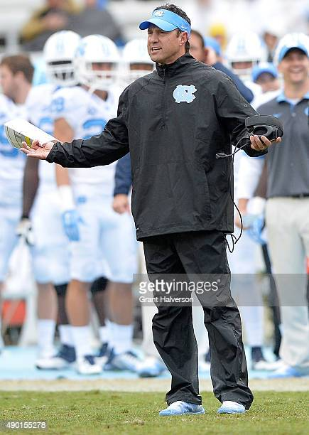 Head coach Larry Fedora of the North Carolina Tar Heels questions a call by the officials during their game against the Delaware Fightin Blue Hens at...
