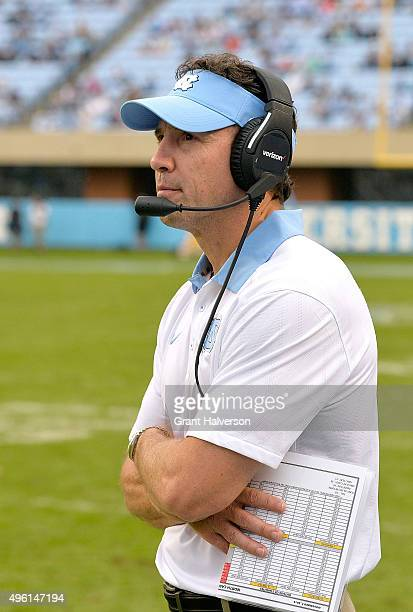 Head coach Larry Fedora of the North Carolina Tar Heels watches his team play during their game against the Duke Blue Devils at Kenan Stadium on...