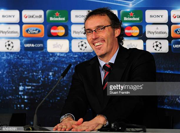 Head coach Laurent Blanc of Bordeaux attends the press conference after the UEFA Champions League Group A match between FC Bayern Muenchen and...