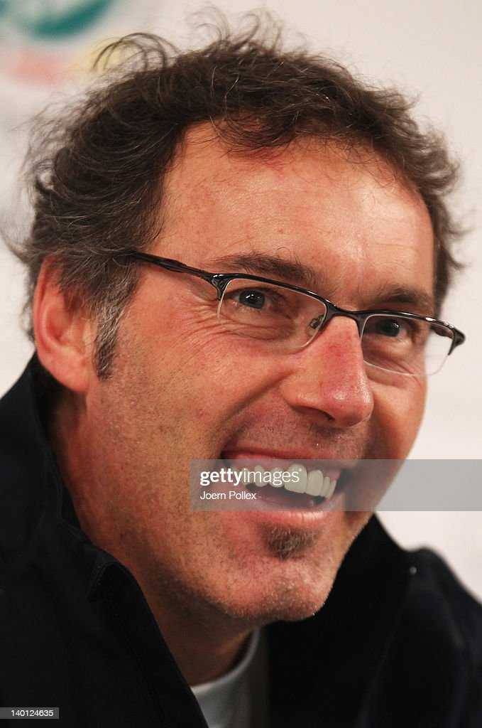 Head coach Laurent Blanc of France attends the press conference of France at Weser stadium on February 28, 2012 in Bremen, Germany.