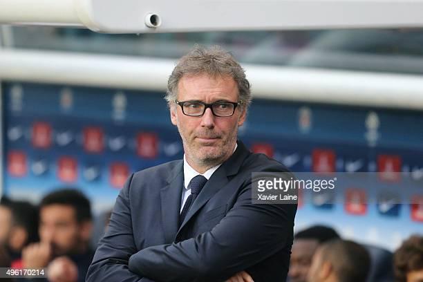 Head coach Laurent Blanc of Paris SaintGermain during the French Ligue 1 between Paris SaintGermain and Toulouse FC at Parc Des Princes on november 7...