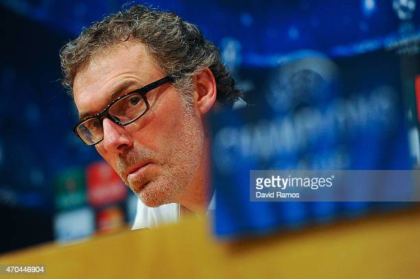 Head coach Laurent Blanc of Paris SaintGermain FC faces the media during a press conference ahead of their UEFA Champions League quarterfinal second...