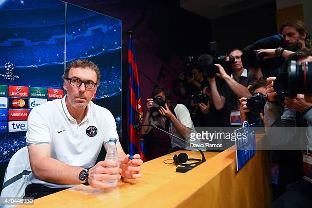 Head coach Laurent Blanc of Paris SaintGermain FC looks on during a press conference ahead of their UEFA Champions League quarterfinal second leg...