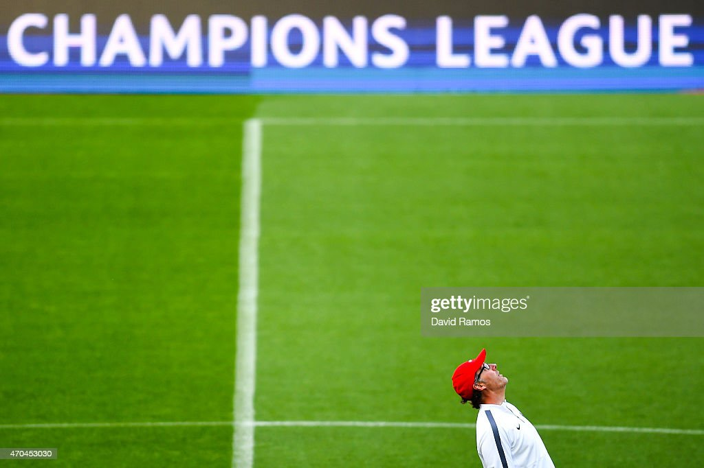 Head coach Laurent Blanc of Paris Saint-Germain FC looks on during a training session ahead of their UEFA Champions League quarter final second leg match againts FC Barcelona at Camp Nou on April 20, 2015 in Barcelona, Spain.