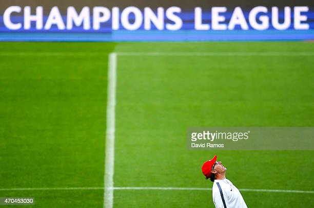 Head coach Laurent Blanc of Paris SaintGermain FC looks on during a training session ahead of their UEFA Champions League quarter final second leg...