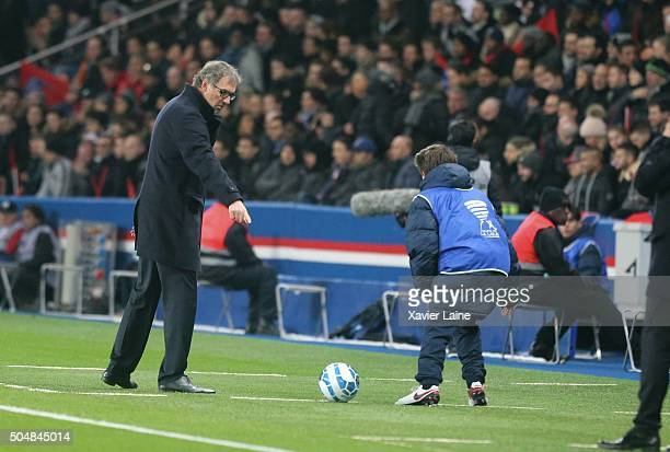Head coach Laurent Blanc of Paris SaintGermain prohibited ball boy to take the ball during the French Ligue Cup between Paris SaintGermain and...