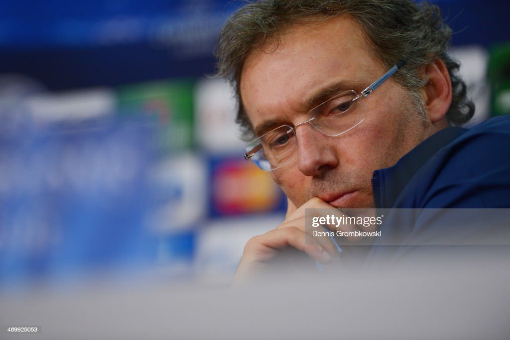 Head coach Laurent Blanc of Paris Saint-Germain reacts during a press conference ahead of the UEFA Champions League match between Bayer Leverkusen and Paris Saint-Germain at BayArena on February 17, 2014 in Leverkusen, Germany.