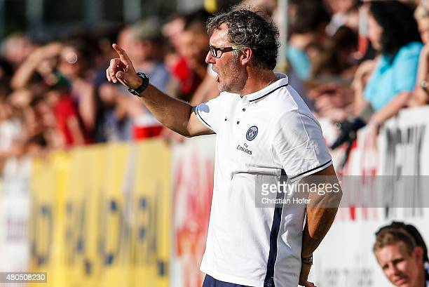 Head Coach Laurent Blanc of Paris SaintGermain reacts on the touchline during the Friendly Match between Wiener Sportklub and Paris SaintGermain at...