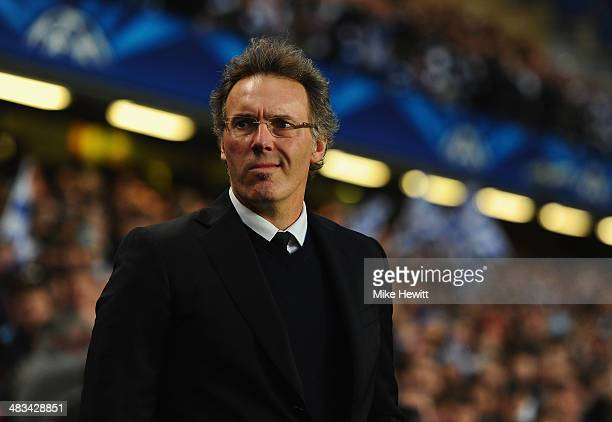 Head Coach Laurent Blanc of PSG looks on during the UEFA Champions League Quarter Final second leg match between Chelsea and Paris SaintGermain FC at...