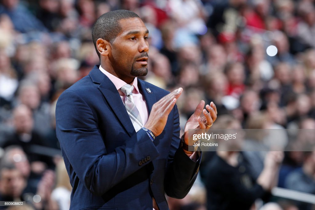 Head coach LaVall Jordan of the Butler Bulldogs looks on against the Purdue Boilermakers in the first half of the Crossroads Classic at Bankers Life Fieldhouse on December 16, 2017 in Indianapolis, Indiana. Purdue won 82-67.