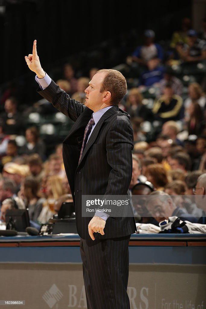 Head Coach <a gi-track='captionPersonalityLinkClicked' href=/galleries/search?phrase=Lawrence+Frank&family=editorial&specificpeople=208918 ng-click='$event.stopPropagation()'>Lawrence Frank</a> of the Detroit Pistons calls a play out against the Indiana Pacers on February 22, 2013 at Bankers Life Fieldhouse in Indianapolis, Indiana.