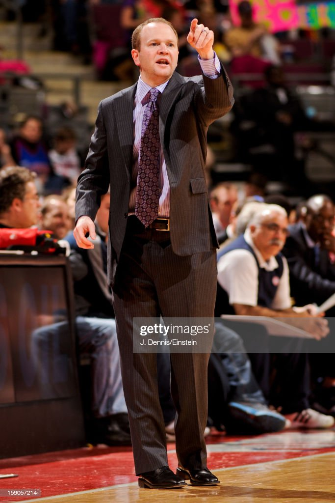 Head Coach Lawrence Frank of the Detroit Pistons directs his team against the Charlotte Bobcats on January 6, 2013 at The Palace of Auburn Hills in Auburn Hills, Michigan.