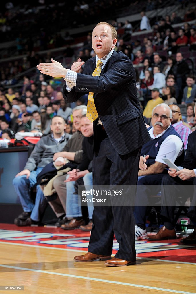 Head Coach Lawrence Frank of the Detroit Pistons directs his team against the Washington Wizards on February 13, 2013 at The Palace of Auburn Hills in Auburn Hills, Michigan.
