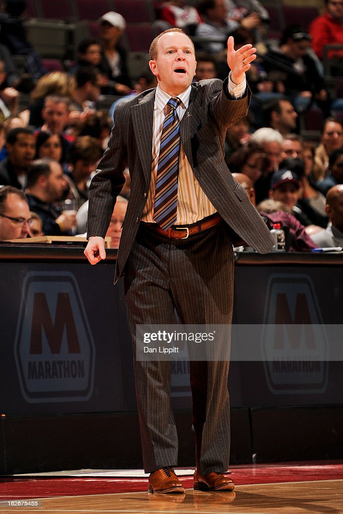 Head Coach Lawrence Frank of the Detroit Pistons directs his team against the Atlanta Hawks on February 25, 2013 at The Palace of Auburn Hills in Auburn Hills, Michigan.