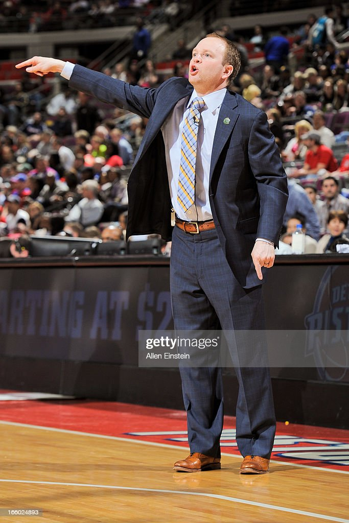 Head Coach Lawrence Frank of the Detroit Pistons directs his team against the Chicago Bulls on April 7 2013 at The Palace of Auburn Hills in Auburn...
