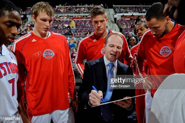 Head Coach Lawrence Frank of the Detroit Pistons draws up plays for his team before a game against the Toronto Raptors on November 23 2012 at The...