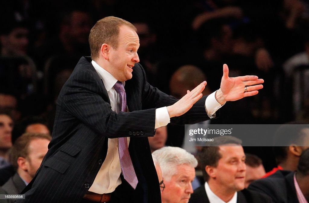 Head coach Lawrence Frank of the Detroit Pistons in action against the New York Knicks at Madison Square Garden on February 4, 2013 in New York City. The Knicks defeated the Pistons 99-85.