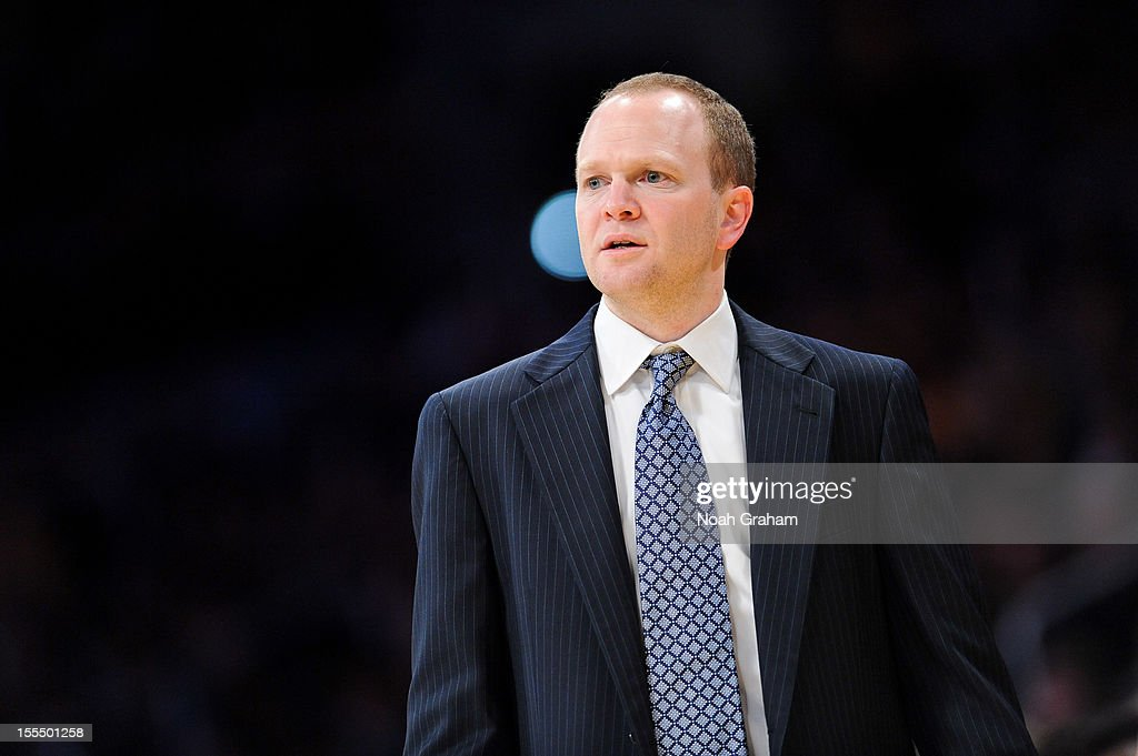 Head Coach <a gi-track='captionPersonalityLinkClicked' href=/galleries/search?phrase=Lawrence+Frank&family=editorial&specificpeople=208918 ng-click='$event.stopPropagation()'>Lawrence Frank</a> of the Detroit Pistons looks on as his team plays the Los Angeles Lakers at Staples Center on November 4, 2012 in Los Angeles, California.