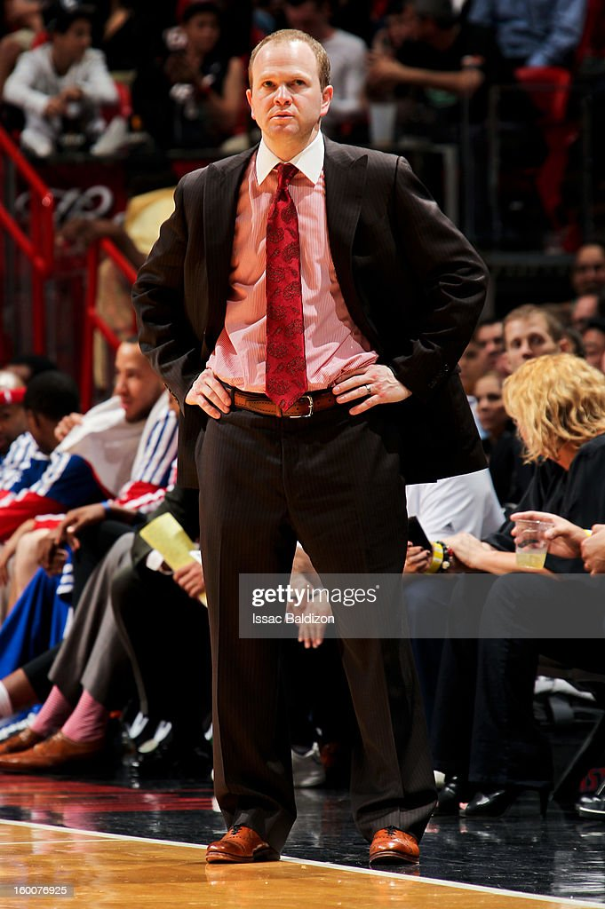 Head Coach Lawrence Frank of the Detroit Pistons looks on during a game against the Miami Heat on January 25 2013 at American Airlines Arena in Miami...