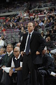 Head Coach Lawrence Frank of the Detroit Pistons looks on from the bench against the Denver Nuggets during the game on December 11 2012 at The Palace...