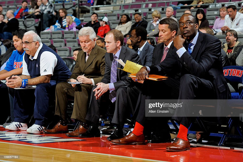 Head Coach Lawrence Frank of the Detroit Pistons looks on from the bench with his coaching staff during a game against the Charlotte Bobcats on January 6, 2013 at The Palace of Auburn Hills in Auburn Hills, Michigan.