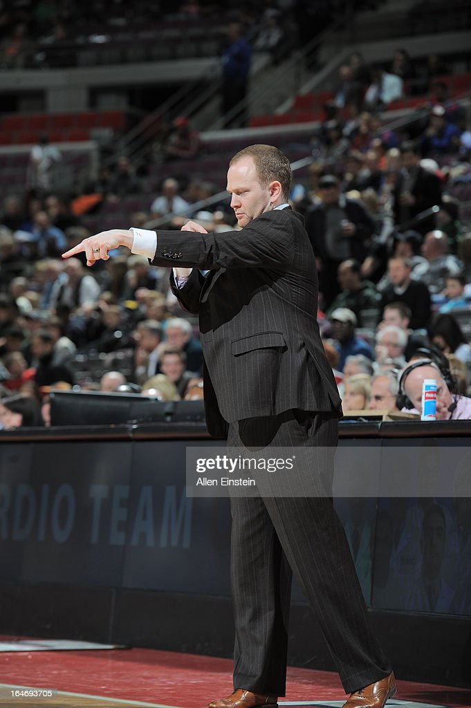 Head Coach Lawrence Frank of the Detroit Pistons points out to his players against the Minnesota Timberwolves during the game on March 26, 2013 at The Palace of Auburn Hills in Auburn Hills, Michigan.