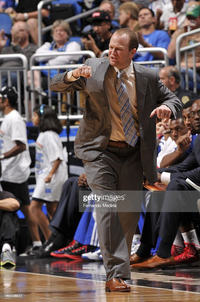 Head Coach <a gi-track='captionPersonalityLinkClicked' href=/galleries/search?phrase=Lawrence+Frank&family=editorial&specificpeople=208918 ng-click='$event.stopPropagation()'>Lawrence Frank</a> of the Detroit Pistons reacts during the game between the Detroit Pistons and the Orlando Magic on January 27, 2013 at Amway Center in Orlando, Florida.