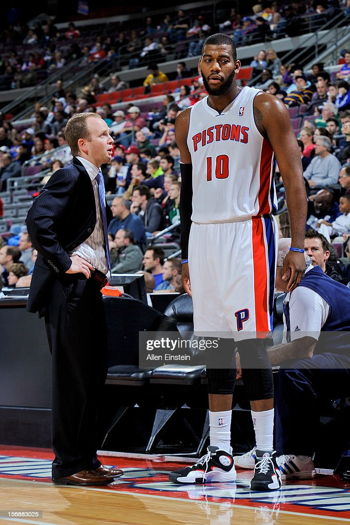 Head Coach Lawrence Frank of the Detroit Pistons speaks to Greg Monroe #10 while playing against the Toronto Raptors on November 23, 2012 at The Palace of Auburn Hills in Auburn Hills, Michigan.