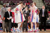 Head Coach Lawrence Frank of the Detroit Pistons speaks to his team during a game against the Atlanta Hawks on February 25 2013 at The Palace of...