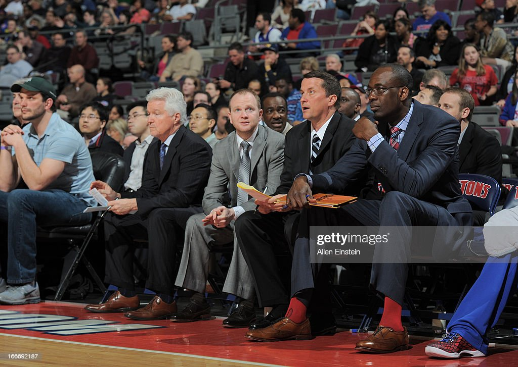 Head Coach Lawrence Frank of the Detroit Pistons watches from the bench during the game between the Detroit Pistons and the Philadelphia 76ers on April 15, 2013 at The Palace of Auburn Hills in Auburn Hills, Michigan.