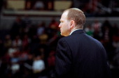 Head coach Lawrence Frank of the Detroit Pistons watches the game against the Washington Wizards at the Verizon Center on December 22 2012 in...