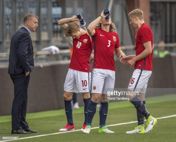 Head Coach Leif Gunnar Smerud Martin Odegaard Julian Ryerson Ulrik Jenssen of Norway during the Qualifying Round European Under 21 Championship 2019...