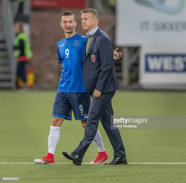 Head Coach Leif Gunnar Smerud of Norway Bersant Celina of Kosovo after the Qualifying Round European Under 21 Championship 2019 between Norway v...