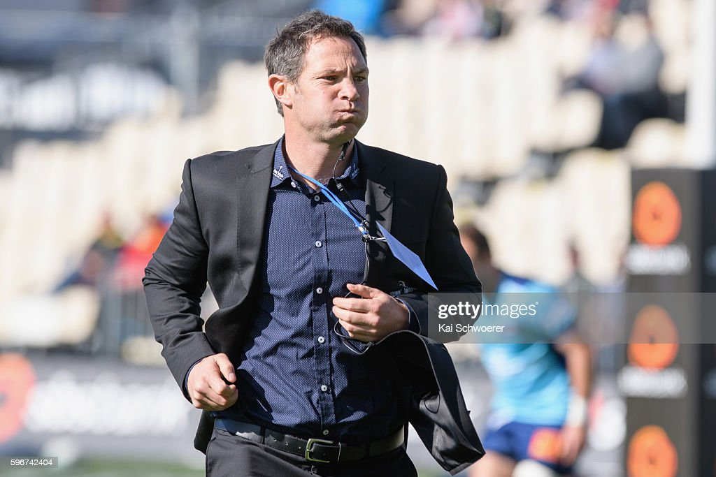Head Coach Leon MacDonald of Tasman reacting prior to the round two Mitre 10 Cup match between Canterbury and Tasman at AMI Stadium on August 28 2016...