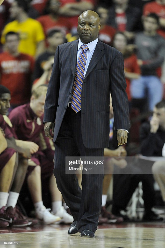 Head coach Leonard Hamilton of the Florida State Seminoles looks on during a college basketball game against the Maryland Terrapins on January 9, 2013 at the Comcast Center in College Park, Maryland. The Seminoles won 65-61.