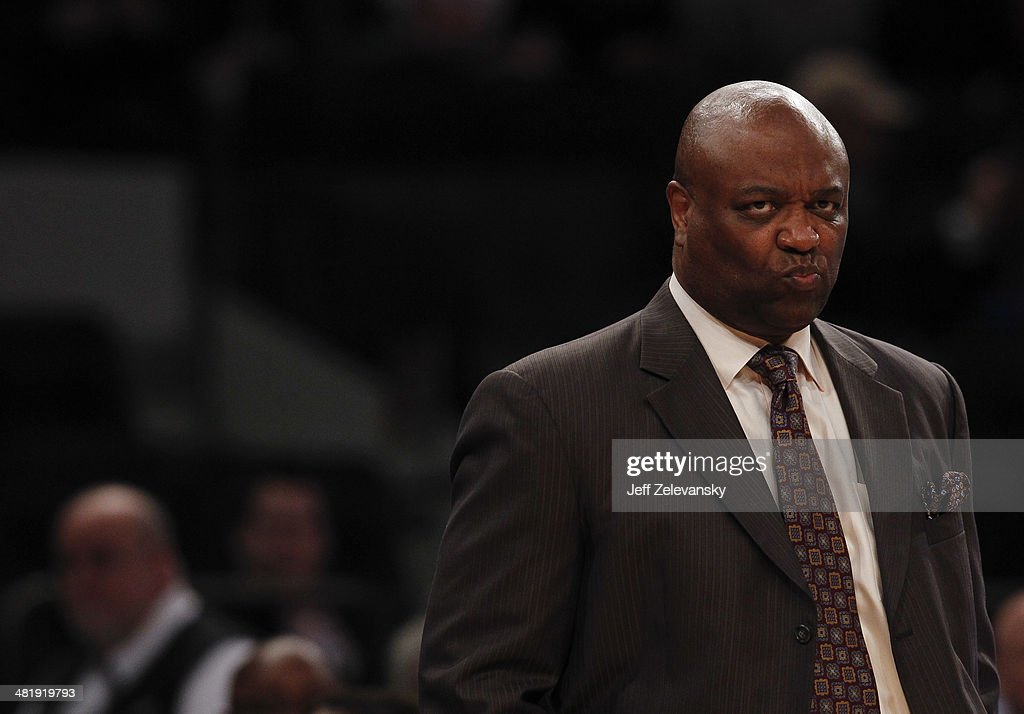 Head coach <a gi-track='captionPersonalityLinkClicked' href=/galleries/search?phrase=Leonard+Hamilton&family=editorial&specificpeople=835735 ng-click='$event.stopPropagation()'>Leonard Hamilton</a> of the Florida State Seminoles looks on from the bench during the NIT Championship semifinals against the Minnesota Golden Gophers at Madison Square Garden on April 1, 2014 in New York City.