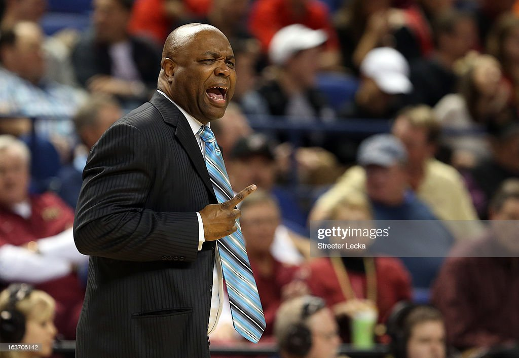 Head coach Leonard Hamilton of the Florida State Seminoles yells to his team against the Clemson Tigers during the first round of the Men's ACC Basketball Tournament at Greensboro Coliseum on March 14, 2013 in Greensboro, North Carolina.
