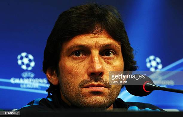 Head coach Leonardo looks on during a Inter Milan press conference ahead of the UEFA Champions League quarter final second leg match against FC...