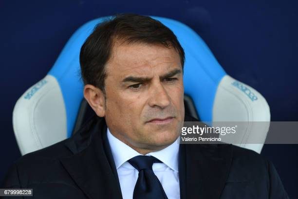 SPAL head coach Leonardo Semplici looks on during the Serie B match between SPAL and FC Pro Vercelli at Stadio Paolo Mazza on May 7 2017 in Ferrara...
