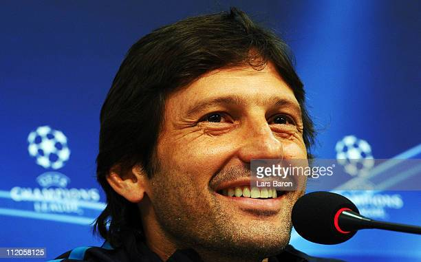 Head coach Leonardo smiles during a Inter Milan press conference ahead of the UEFA Champions League quarter final second leg match against FC Schalke...