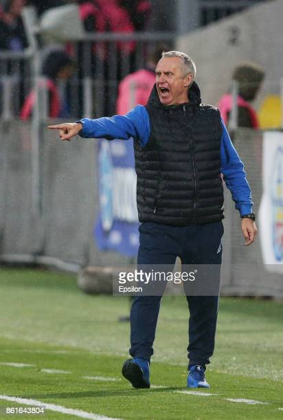 Head coach Leonid Kuchuk of FC Rostov RostovonDon gestures during the Russian Premier League match between FC Rostov RostovonDon v FC Rubin Kazan at...