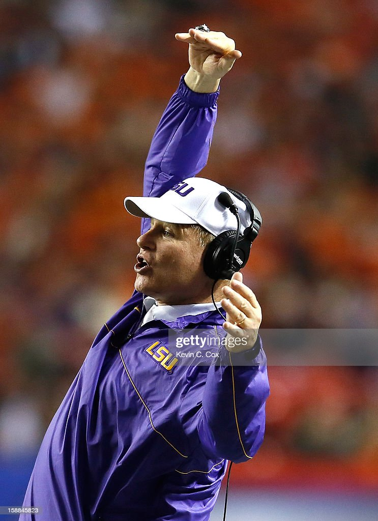 Head coach Les Miles of the LSU Tigers questions a call during the game against the Clemson Tigers during the 2012 Chick-fil-A Bowl at Georgia Dome on December 31, 2012 in Atlanta, Georgia.