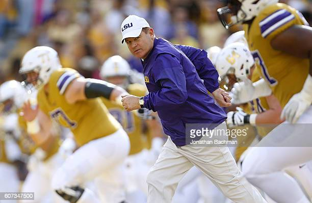 Head coach Les Miles of the LSU Tigers takes the field before a game against the Mississippi State Bulldogs at Tiger Stadium on September 17 2016 in...