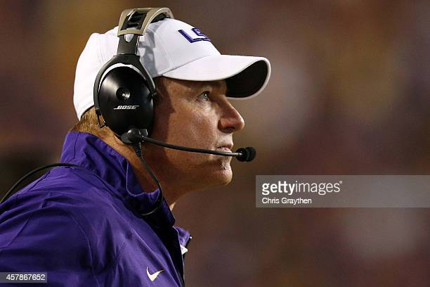 Head coach Les Miles of the LSU Tigers watches a play against the Mississippi Rebels at Tiger Stadium on October 25 2014 in Baton Rouge Louisiana