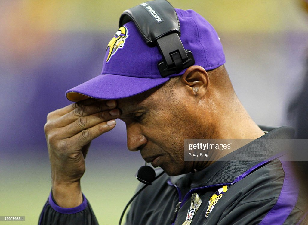Head coach Leslie Frazier of the Minnesota Vikings is shown during the game against the Detroit Lions on November 11, 2012 at Mall of America Field at the Hubert H. Humphrey Metrodome in Minneapolis, Minnesota.