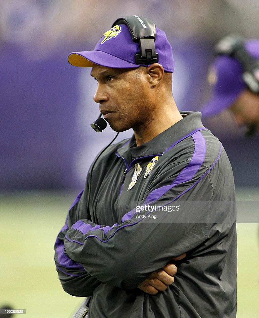 head coach Leslie Frazier of the Minnesota Vikings looks on during action against the Detroit Lions on November 11, 2012 at Mall of America Field at the Hubert H. Humphrey Metrodome in Minneapolis, Minnesota.