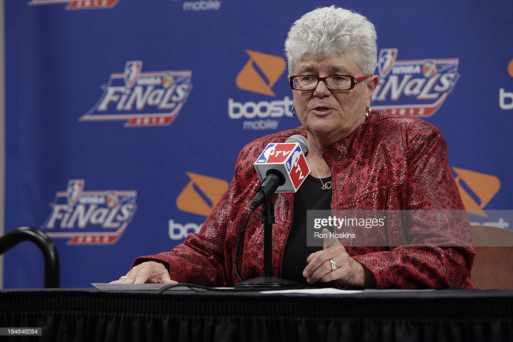 Head Coach Lin Dunn of the Indiana Fever speaks to the media after Game four of the 2012 WNBA Finals on October 21, 2012 at Bankers Life Fieldhouse in Indianapolis, Indiana.