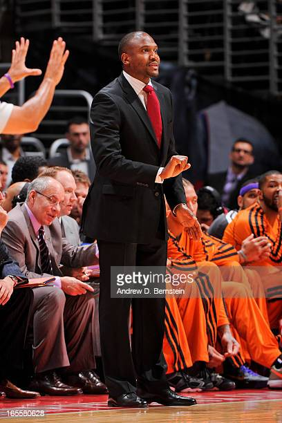 Head Coach Lindsey Hunter of the Phoenix Suns directs his team against the Los Angeles Clippers at Staples Center on April 3 2013 in Los Angeles...