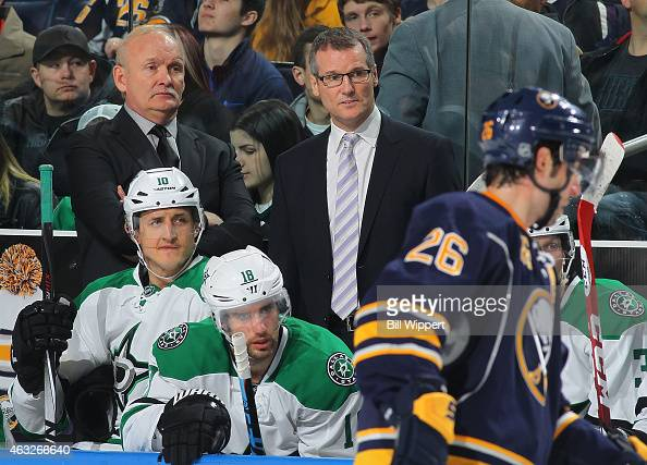 Head coach Lindy Ruff and assistant coach James Patrick of the Dallas Stars watch the action against the Buffalo Sabres on February 7 2015 at the...